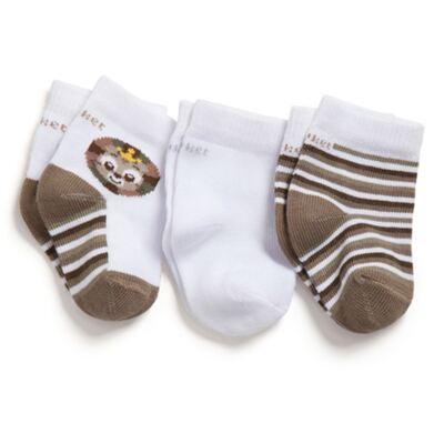 Imagem 1 do produto Kit com 3 meias Soquete recém-nascido Leãozinho - Puket - PK6963D-B Meia Tripack RN Variante 1 Branco Gatinho-0/4