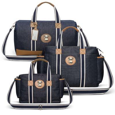 Imagem 1 do produto Bolsa Passeio para bebe + Bolsa Albany +  Frasqueira Térmica Gold Coast Adventure Jeans - Classic for Baby Bags