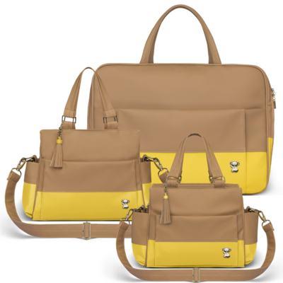 Imagem 1 do produto Mala Maternidade para bebe + Bolsa Genebra + Frasqueira Térmica Zurique Due Colore Amarelo - Classic for Baby Bags