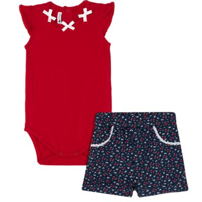 Body regata c/ Shorts para bebe em cotton Liberty - Mini Sailor - 17374443 CONJ. BODY C/SHORTS COTTON VERMELHO-6-9