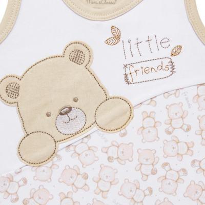 Imagem 2 do produto Macacão regata para bebe em algodão egípcio c/ jato de cerâmica Nature Little Friends - Mini & Classic - MCCC650 MACACAO REGATA C/ RECORTE SUEDINE NATURE-G