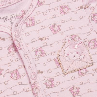 Imagem 2 do produto Macacão longo para bebe em algodão egípcio Coelhinha - Tilly Baby - TB168100 MACACAO ML FEMININO SUEDINE CORRIDO CARTINHAS-P