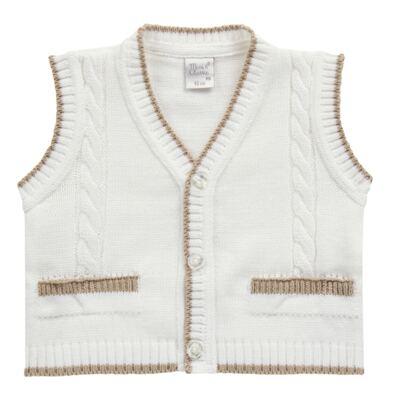 Imagem 3 do produto Macacão longo c/ Colete & Gravata para bebe em tricot Benjamim - Mini & Classic - 3069659 MACACAO FALSO COLETE TRICOT BRANCO-P