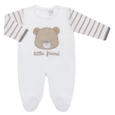 Imagem 1 do produto Macacão longo para bebe em tricot Nature Little Friends - Mini & Classic - 3071650 MACACAO TRICO BORDADO NATURE-P