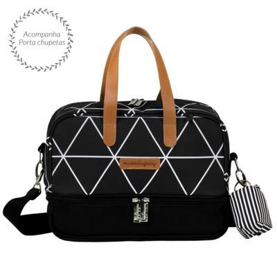 Imagem 5 do produto Mala maternidade Vintage + Bolsa 4 em 1 Sofia + Frasqueira térmica Vicky + Mochila Noah + Necessaire Manhattan Preta - Masterbag