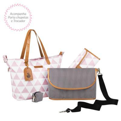 Imagem 3 do produto Mala maternidade com Rodízio + Bolsa 4 em 1 Sofia + Frasqueira térmica Vicky + Mochila Noah Manhattan Rosa - Masterbag
