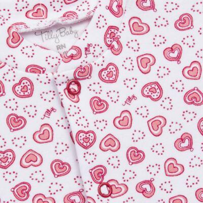 Imagem 4 do produto Macacão longo com Casaco em algodão egípcio Little Hearts - Tilly Baby - TB168162 MACACAO C/ CASACO FEM SUEDINE CORAÇÕES-M