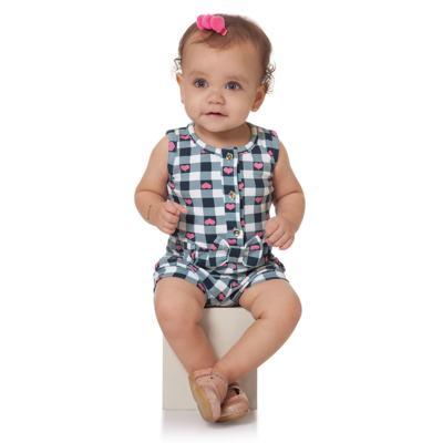 Imagem 3 do produto Macaquinho regata para bebe em cotton Bubblegum - Time Kids - TK5057.AZ MACAQUINHO XADREZ AZUL-G
