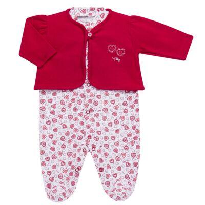 Imagem 1 do produto Macacão longo com Casaco em algodão egípcio Little Hearts - Tilly Baby - TB168162 MACACAO C/ CASACO FEM SUEDINE CORAÇÕES-RN