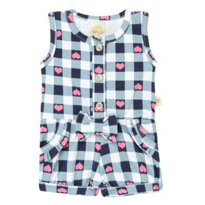 Imagem 1 do produto Macaquinho regata para bebe em cotton Bubblegum - Time Kids - TK5057.AZ MACAQUINHO XADREZ AZUL-P