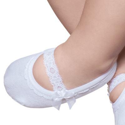Imagem 2 do produto Meia Sapatilha para bebe Branca Renda & Laço - Puket - PK9039L-B Meia Sapatilha Festa Branco -5/8