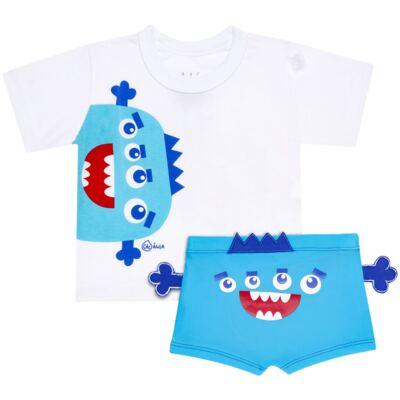 Imagem 1 do produto Conjunto de Banho Monstrinhos: Camiseta + Sunga - Cara de Criança