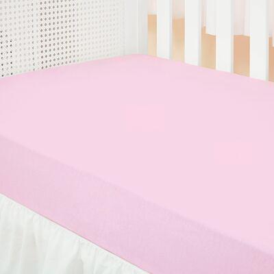 Imagem 1 do produto Lençol de baixo para berço em malha Rosa - Biramar Baby - B003572 Lencol Berco 1 pc Malha Liso - Rosa
