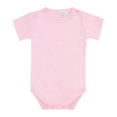 Imagem 1 do produto Body curto canelado para bebe Rosa - Pingo Lelê - PL9001-RS BODY MANGA CURTA ROSA-G