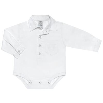 Imagem 1 do produto Body Camisa para bebe em fustão Branco - Sylvaz - SZ369 BODY CAMISA ML BATIZADO BRANCO-M