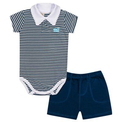 Imagem 1 do produto Body curto com shorts para bebe em malha Baleinha - Pingo Lelê - PL65848 BODY CURTO C/SHORT MARINHO/BRANCO LISTRA-P