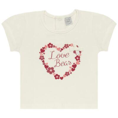 Imagem 1 do produto Blusinha para bebe em cotton Flowery Bear - Vicky Lipe - 1371360 BLUSINHA MC COTTON URSA FLORAL-2