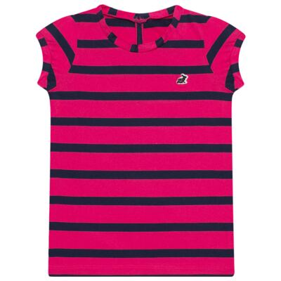 Imagem 1 do produto Blusinha em malha listrada Pink/Marinho - Missfloor - 1470MF09693 BLUSINHA MC C/ ABERTURA MALHA PINK-8