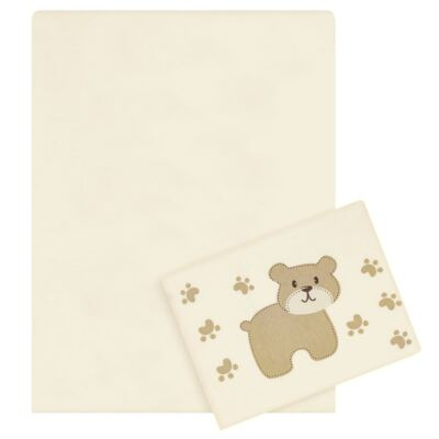 Imagem 1 do produto Jogo de lençol para berço em malha Ursinho 2 peças - Pingo Lelê - PL4510 KIT ROUPA DE CAMA MALHA 2 PECAS MARFIM