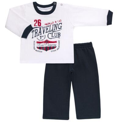 Imagem 1 do produto Blusão com Calça para bebe em moletom Traveling - Mini Mix - LTCM08 CONJUNTO MOLETOM TRAVELING BRANCO/MARINHO -M