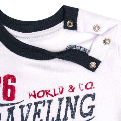 Imagem 4 do produto Blusão com Calça para bebe em moletom Traveling - Mini Mix - LTCM08 CONJUNTO MOLETOM TRAVELING BRANCO/MARINHO -M
