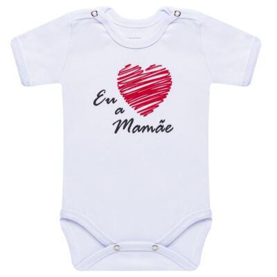 Imagem 1 do produto Body curto para bebe em suedine Eu <3 a Mamãe - Primeiras Palavras - PP1031 BODY EU AMO A MAMAE MANGA CURTA-G