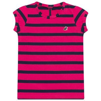 Imagem 1 do produto Blusinha em malha listrada Pink/Marinho - Missfloor - 1470MF09693 BLUSINHA MC C/ ABERTURA MALHA PINK-4