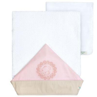 Imagem 1 do produto Toalha com capuz para bebe com fralda Pink Teddy Bear - Laura Ashley Baby - BLA-21038-2114 Jogo de banho c/fralda bordado La - Teddy Bear Rosa