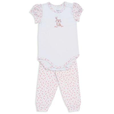 Imagem 1 do produto Body curto c/ Calça para bebe em suedine Florzinhas - Dedeka - DDK18052/E208 CONJUNTO DE BODY SUEDINE/FLORAL -P
