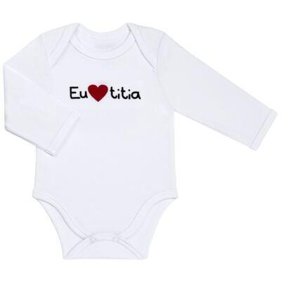 Imagem 1 do produto Body longo para bebe em algodão egípcio Eu amo Titia - Bibe - 10A53-01 BD UNIS ML CRISTAL BRANCO TITIA-P