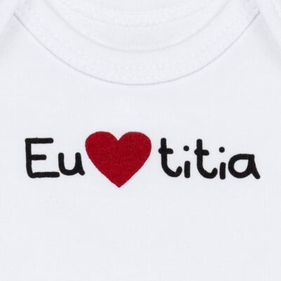 Imagem 2 do produto Body longo para bebe em algodão egípcio Eu amo Titia - Bibe - 10A53-01 BD UNIS ML CRISTAL BRANCO TITIA-P