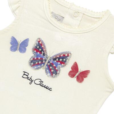 Imagem 3 do produto Blusinha com Calcinha Saia para bebe em viscolycra Butterflies - Baby Classic - 20521628 BLUSINHA M/C C/ SAIA VISCOLYCRA BUTTERFLY -G