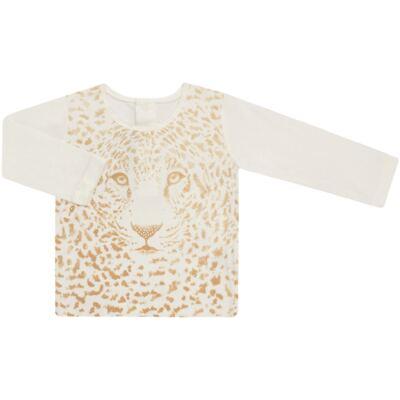 Imagem 1 do produto Blusinha manga longa para bebe em viscolycra Animal Print Caramel - Baby Classic - 016340 BLUSINHA GOLA CARECA VISCOLYCRA ONCINHA MARFIM-2