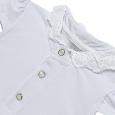 Imagem 2 do produto Blusinha para bebe em cotton Branca - Baby Classic - 21751445 BLUSINHA M/C GOLA COTTON CLÁSSICO-3