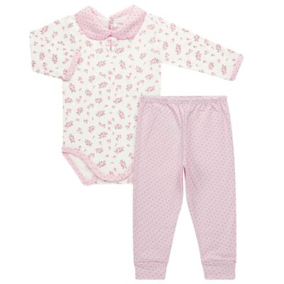 Imagem 1 do produto Body golinha c/ Calça para bebe em suedine Florzinhas - Dedeka - DDK17577/E166 CONJUNTO DE BODY SUEDINE FLORAL-P