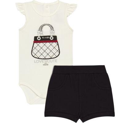 Imagem 1 do produto Body curto com Shorts para bebe em cotton algodão egípcio Love Cute  - Mini & Kids - CJSH0001.233 BODY C/MANGA BAB.E SHORTS - COTTON-P