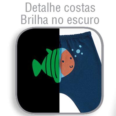 Imagem 3 do produto Body longo c/ Calça para bebe em suedine Little Fish - Dedeka - DDK18103/L44 CONJUNTO DE BODY SUEDINE AZUL -G