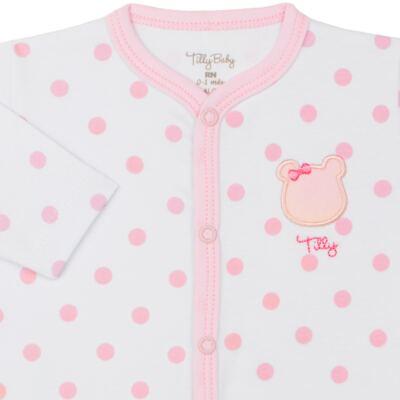 Imagem 2 do produto Macacão longo para bebe em suedine Ursinha - Tilly Baby - TB183705 MACACAO LONGO FEM URSA LACINHO-G