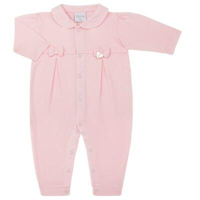 Imagem 1 do produto Macacão c/ golinha para bebe em malha Lacinhos - Tilly Baby - TB183409 MACACAO LONGO FEM CLASSICO ROSA-G