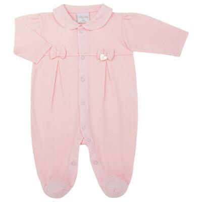 Imagem 1 do produto Macacão c/ golinha para bebe em malha Lacinhos - Tilly Baby - TB183409 MACACAO LONGO FEM CLASSICO ROSA-P