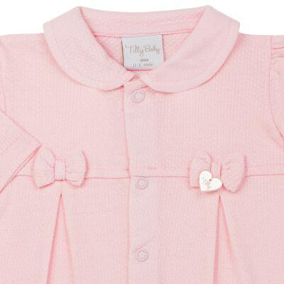 Imagem 2 do produto Macacão c/ golinha para bebe em malha Lacinhos - Tilly Baby - TB183409 MACACAO LONGO FEM CLASSICO ROSA-P