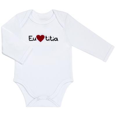 Imagem 1 do produto Body longo para bebe em algodão egípcio Eu amo Titia - Bibe - 10A53-01 BD UNIS ML CRISTAL BRANCO TITIA-G