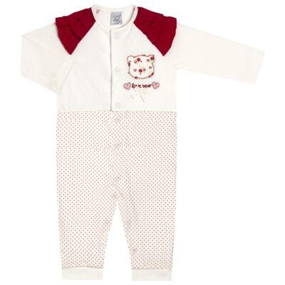 Imagem 1 do produto Macacão babadinhos para bebe em malha Flowery Bear - Vicky Lipe - 20741360 MACACÃO ML C/REC E BABADOS MALHA URSA FLORAL-G