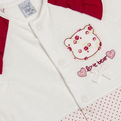 Imagem 2 do produto Macacão babadinhos para bebe em malha Flowery Bear - Vicky Lipe - 20741360 MACACÃO ML C/REC E BABADOS MALHA URSA FLORAL-G