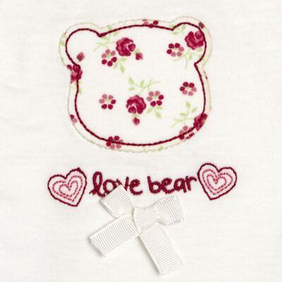 Imagem 3 do produto Macacão babadinhos para bebe em malha Flowery Bear - Vicky Lipe - 20741360 MACACÃO ML C/REC E BABADOS MALHA URSA FLORAL-G