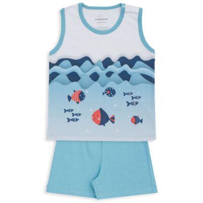 Imagem 1 do produto Pijama regata em suedine Little Fish - Dedeka - DDK18200/L44 PIJAMA SUEDINE AZUL SERENO-3