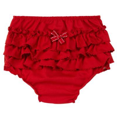 Imagem 1 do produto Calcinha Babadinhos para bebe em fustão Vermelha - Mini Sailor - 56024443 CALCINHA C/BABADO TRICOLINE VERMELHO-6-9