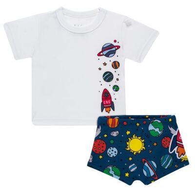 Imagem 1 do produto Conjunto de Banho para bebe Galaxy: Camiseta + Sunga - Cara de Criança - KIT 1 2578: SBB2578+CCAB2578 SUNGA E CAMISETA ESPACIAL-3