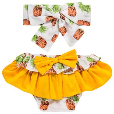 Imagem 1 do produto Conjunto de banho Pineapple: Bumbum + Faixa de Cabelo - Roana - BAST0904013 BANHO DE SOL TURBANTE 124 AMARELO-M