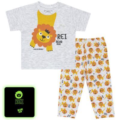 Imagem 1 do produto Pijama curto que Brilha no Escuro Lion - Cara de Criança - BC1943 REI LEÃO BC PJ - BB CURTA C/CALÇA M/MALHA-M